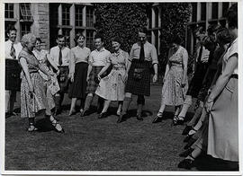 Photographs of  Miss Jarvis, teaching an outdoor class, at Summer School