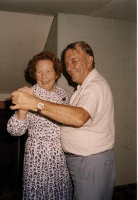 Photograph of Margaret Anderson dancing with an unidentified partner at TAC Summer School, Brock University