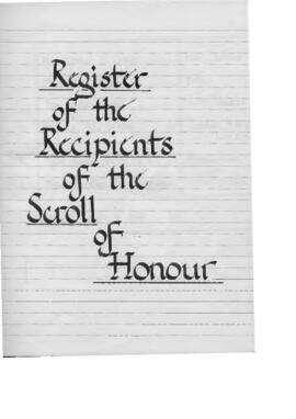 Register of Recipients of the Society's Scroll of Honour