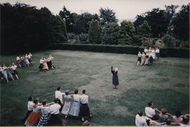 Photograph of dancers performing the Eightsome Reel taken from the air in the