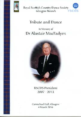 Programme for the Tribute and Dance for Dr. Alastair MacFadyen